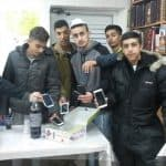 Earning Raffel Tickets for depositing their cell phones during the Shiur.